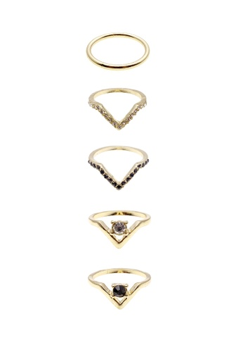LUCCACAL 5 x Geo Rhinestone Ring Set LU294AC71UIEMY_1
