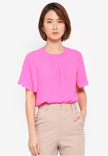 WAREHOUSE pink Angel Flared Sleeve Tee 7E171AAF829545GS_1