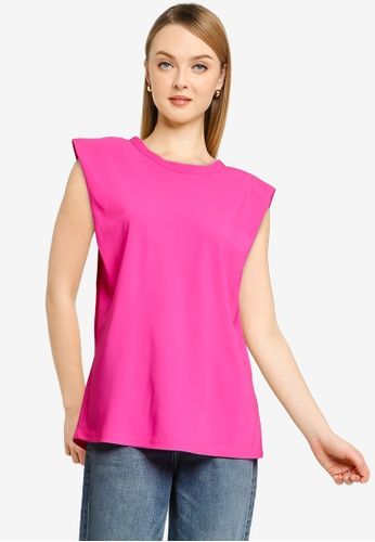 French Connection pink Shoulder Pad Crepe Tank Top 4613AAA6C8FD47GS_1