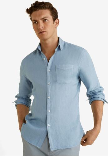 MANGO Man 藍色 Linen Regular Fit Shirt 45FA4AA5554648GS_1