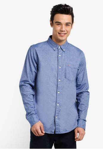 Hollister blue Long Sleeve Oxford Shirt HO422AA77INEMY_1