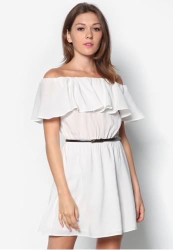 露肩荷葉飾細腰帶連身裙, 服飾, zalora 評價服飾