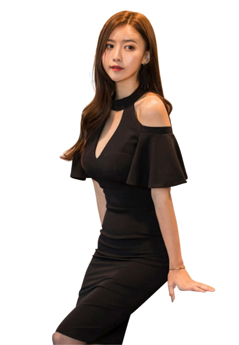 2018 Shoulder Piece One Black CA043016BK Sunnydaysweety Dress Black Cut Off New ATBqZ