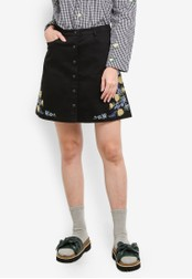 Something Borrowed black Embroidered Button Down Skirt 0B41DAA04FDCFBGS_1