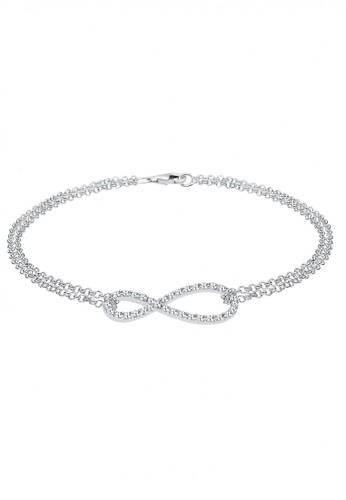 Elli Germany white 925 Sterling Silver Gelang Infinity Swarovski® Crystals Putih BE238AC18VNDID_1