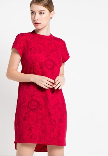 EDITION red Oriental Floral Dress ED101AA21DVEID_1