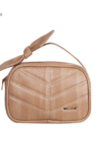 Verchini beige Verchini Top Zip Bow Sling Bag 9BF07ACAEF3333GS_1