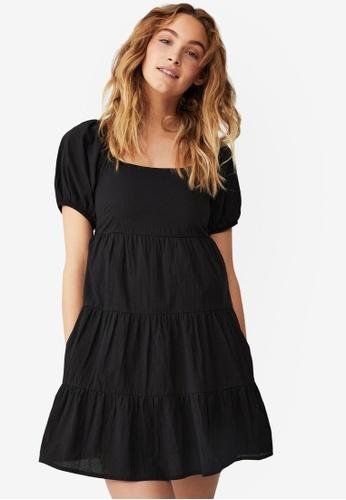Cotton On black Woven Petite Phoebe Mini Dress 75DC8AA05525AEGS_1
