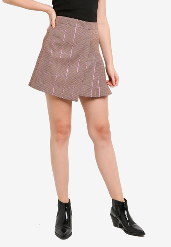 Hopeshow brown Front Overlap Plaid Mini Skirt with Side Pleat CEE8BAAF2931C5GS_1