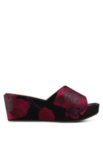Nose pink Floral Wedge Heel Slides 8259CSH9FC025EGS_1