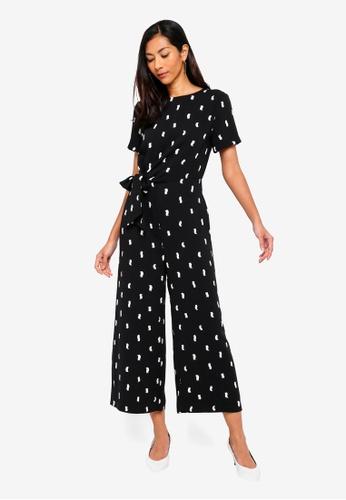 WAREHOUSE black Brushstroke Print Jumpsuit 351BBAA5D875BFGS_1