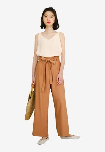 Lara orange Drawstring High Waist Wide Leg Pants 9501AAAFC8AE33GS_1
