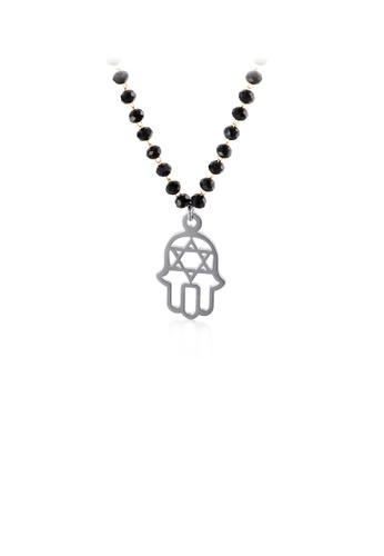 Glamorousky 銀色 時尚創意法蒂瑪之手316L鋼吊墜配串珠項鏈 0DE54AC5D3BB72GS_1