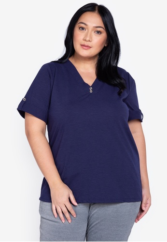 Maxine navy Plus Size V Neck Blouse Short Sleeves A4212AAF008E10GS_1