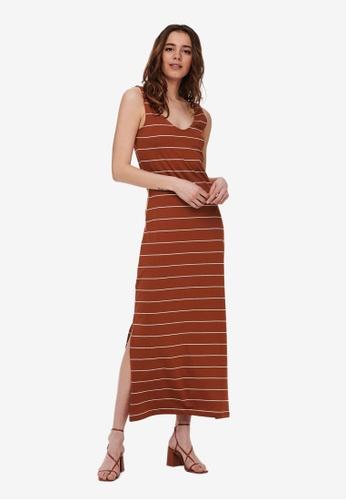 ONLY brown May V-neck Dress E6CB1AA903E29CGS_1