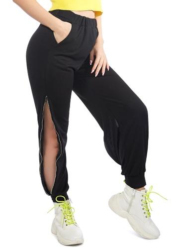 London Rag black Black Side Zipper Slit Track Pants F84DBAAB24B5A9GS_1