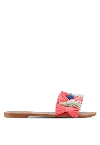 Mango pink Tassels flat sandals 60155SH080AF4DGS_1