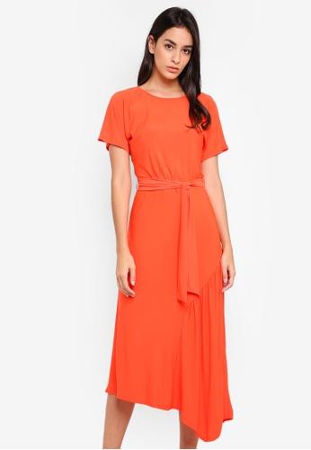 WAREHOUSE red Slinky Asymmetric Midi Dress 08C61AA9F64DFDGS_1