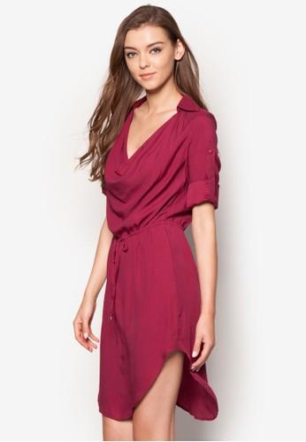垂墜領長袖洋裝,esprit門市 韓系時尚, 梳妝