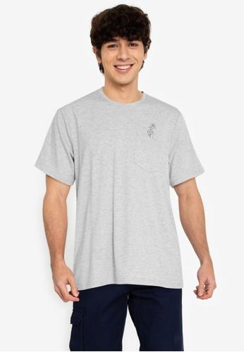 ZALORA BASICS grey Flower Pocket T-Shirt 50D72AAA96E27BGS_1