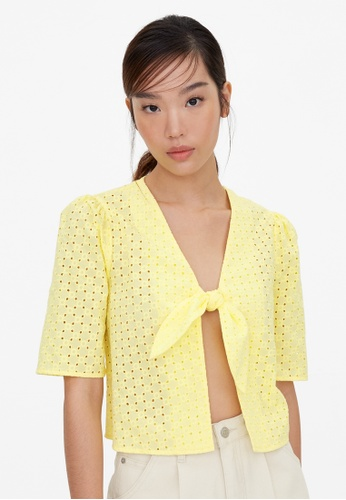 Pomelo yellow Purpose Tied Eyelet Crop Blouse - Yellow DF782AA2A98071GS_1