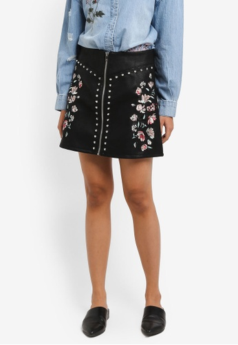 ONLY black Embroidery Skirt 98954AAE1D610EGS_1