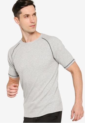 ZALORA ACTIVE grey Ribbed Raglan T-Shirt A4DF1AA0D76FE0GS_1