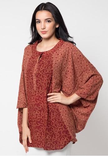 Batik Aksen Tropis Blouse Paris Kalong Kombinasi