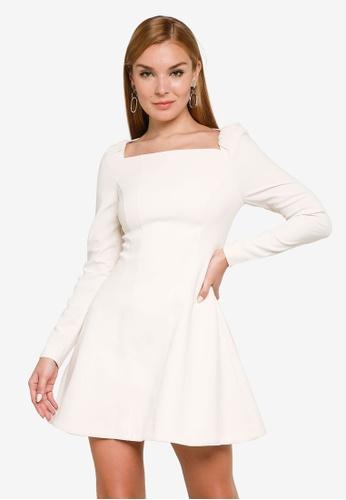 Forever New white Serene Square Neck Mini Dress 069E0AAA6BE843GS_1