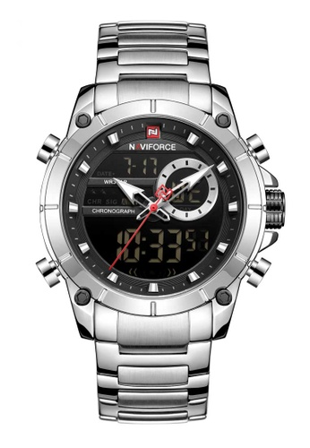 NAVIFORCE silver Naviforce Black and Silver Stainless Steel Watch 3066EACF32E08CGS_1