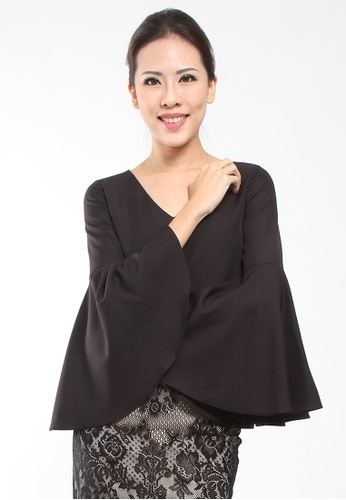 0b431e4d0a26e Lowela black Bell Sleeve Top LO721AA44KQPMY 1. CLICK TO ZOOM