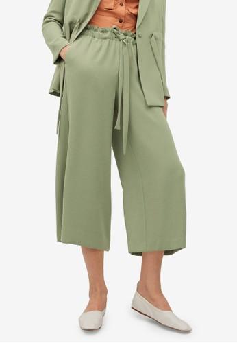 Mango green Belt Culottes Trousers 1E9BDAAC7FB5C9GS_1