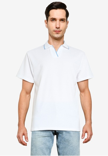 ZALORA BASICS white Contrast Tip Relaxed Polo Shirt F5406AAF5B2819GS_1