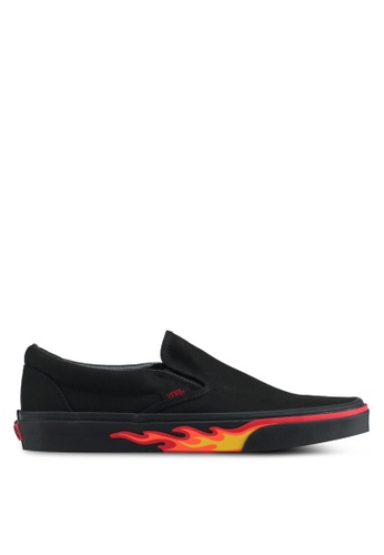 VANS black and red Slip-On Flame Wall VA142SH0SWPNMY_1
