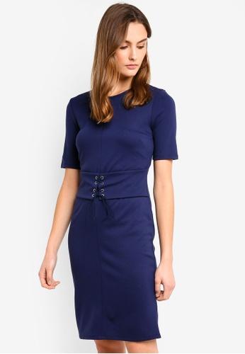 United Colors of Benetton blue Lace Up Detail  Dress D4EBFAA9D0529DGS_1