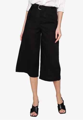 Hopeshow black Flare Cuff Capri Pants with D-ring Belt 0470CAA5B374AFGS_1