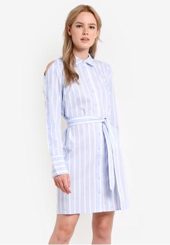 WAREHOUSE blue Button Sleeve Shirt Dress WA653AA12APZMY_1