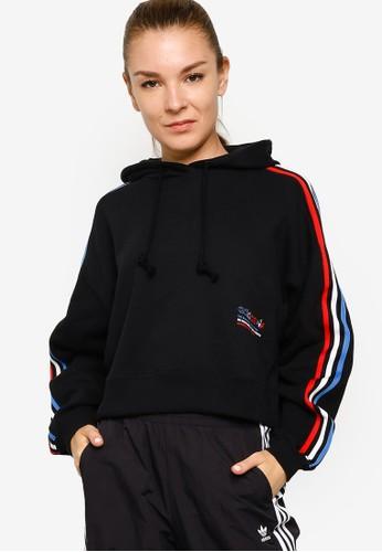 ADIDAS black tricolor trefoil crop hoodie 141ABAA66A1EDCGS_1