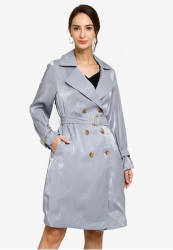 Hopeshow blue Double Button Trench Coat With Waist Belt DF301AA8368881GS_1