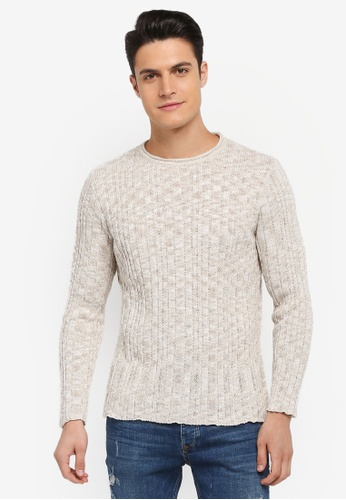 River Island beige Ribbed Crew Neck Muscle Jumper 75453AA9BC247FGS_1