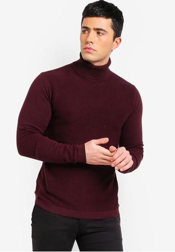 ESPRIT 紅色 羅紋針織衫 26731AA56A84E2GS_1