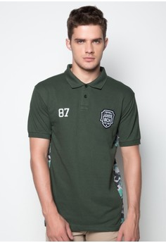 Polo Shirt with Side Panel in Camo