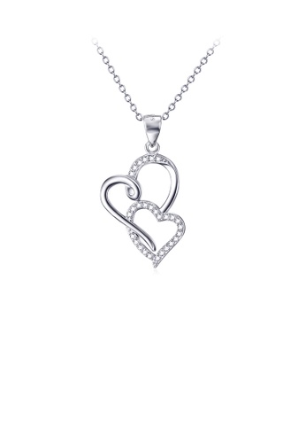 Glamorousky white 925 Sterling Silver Fashion Simple Double Heart Pendant with Cubic Zirconia and Necklace 26F12AC3354166GS_1