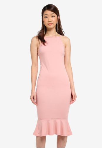 AX Paris pink Bodycon Midi Dress With Frill Hem EEEDCAA3D8FE8EGS_1