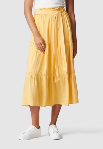 Forever New yellow Jasmine Tiered Midi Skirt 61453AAECD5CBBGS_1