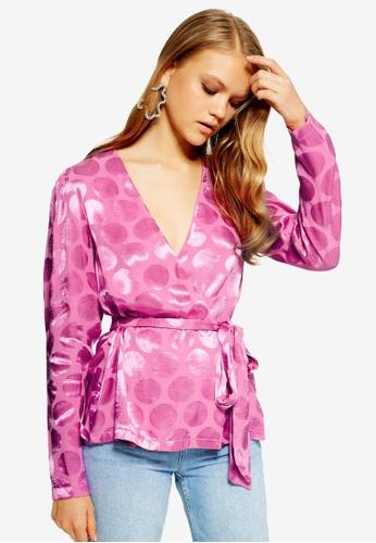 TOPSHOP pink Spot Jacquard Wrap Top 80725AA5B5C84CGS_1