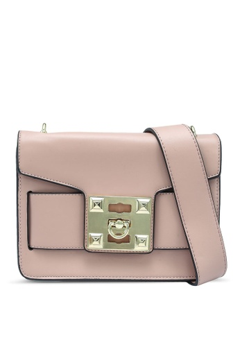 Bagstationz pink Flap Over Sling Bag With Metal Lock AAEBEACBED8B24GS_1