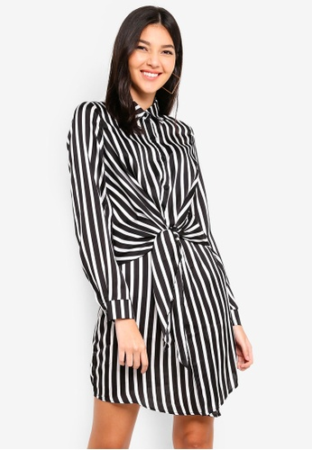 MISSGUIDED black Stripe Tie Waist Shirt Dress 54992AAC46783CGS_1