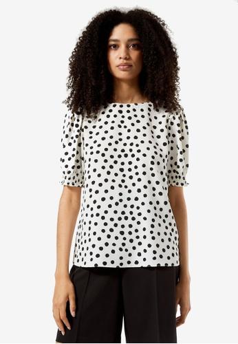 Dorothy Perkins white Monochrome Spot Print Shirred Cuff Top 70D4CAA4624945GS_1
