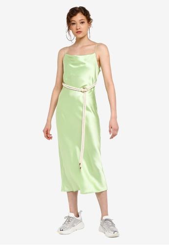 ebf8068fdda39 Buy TOPSHOP Green Rope Belt Midi Slip Dress Online   ZALORA Malaysia